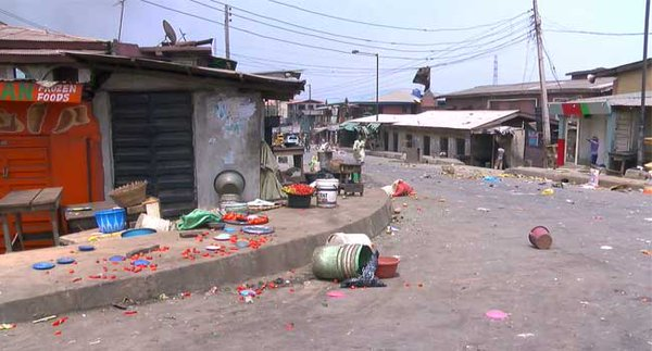 Deserted street in Mile 12 area. Channels TV Photo
