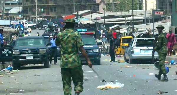 Mile 12 Market area: soldiers take control
