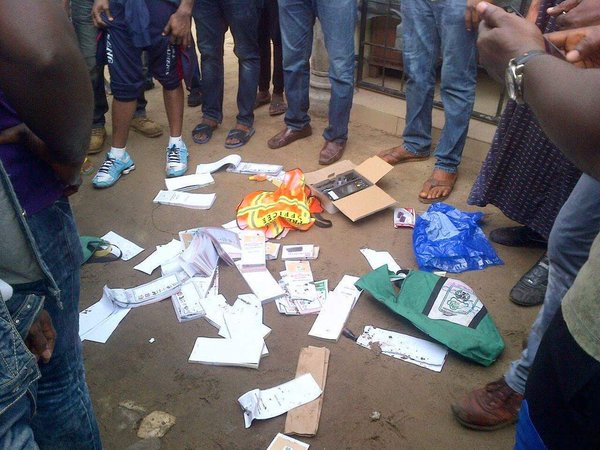 Rivers: fake polling materials scattered on the floor