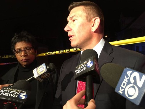 Wilkinsburg shooting: a police official gives a briefing  at the scene