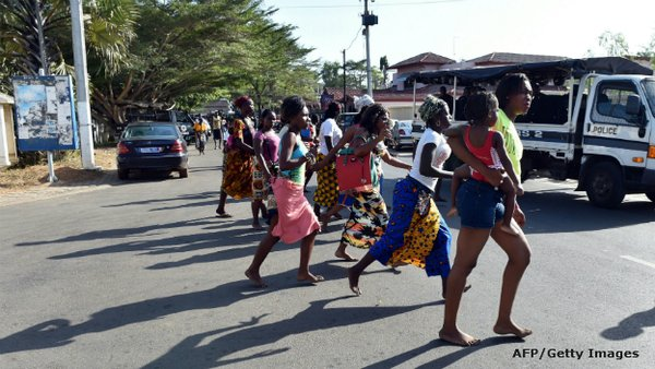 Panic stricken Ivorians after the shooting