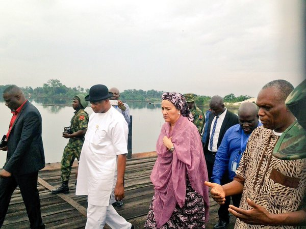 Amina Mohammed and Brigadier Boroh on a tour of polluted Ogoni areas