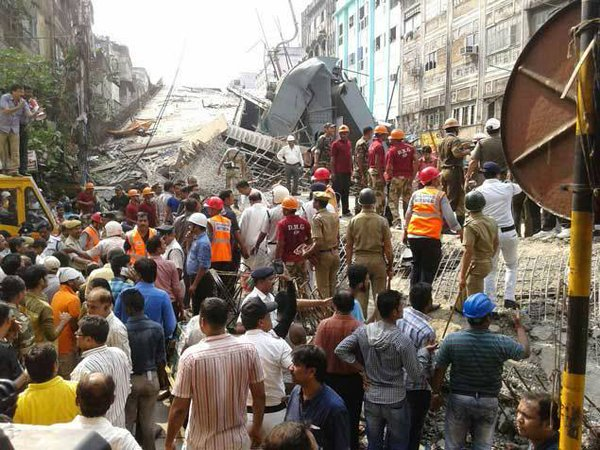 Rescue workers at the site