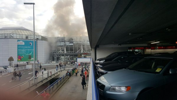 Smoke seen from outside of the Brussels airport