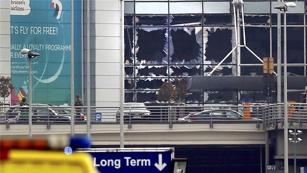 The damaged part of Brussels airport