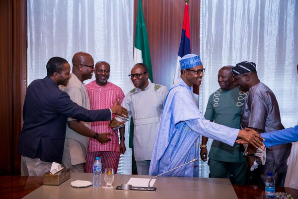 Buhari with the PENGASSAN and NUPENG leaders in Abuja