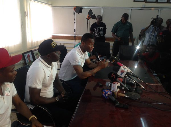 Mikel Obi at a press conference today