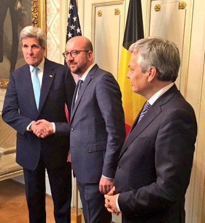 PM Charles Michel, middle, welcomes US Secretary of State, John Kerry in his office