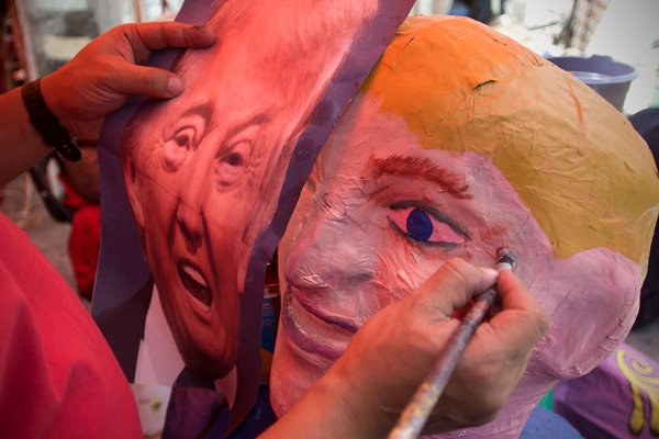 Donald Trump effigy in the making