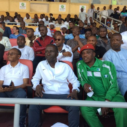 El Rufai, left, Bantex and sports minister, Dalung watching the Nigeria-Egypt match on Saturday