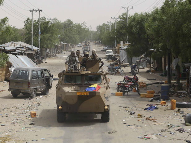 Chadian soldiers on patrol in Damasak after it was liberated in 2015