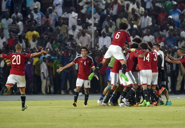 Egypt players rejoice after their lone goal