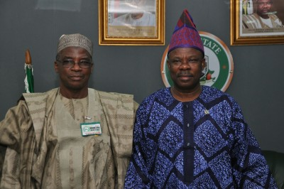 Governor Amosun, right, and Dr. Muhammed Bose Ahamad, Director General, National Boundary Commission