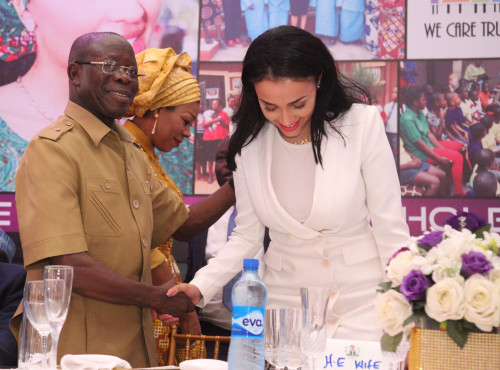 Oshiomhole congratulates the wife for the successful launch of We Care Trust