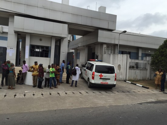 A hearse at CBN Calabar office on Friday Photo: TheNation