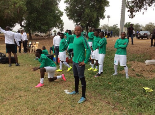Some Super Eagles during the training