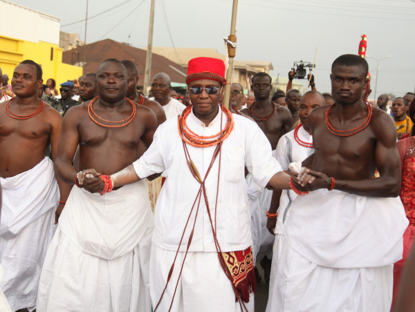 The Crown Prince of Benin Kingdom, HRH Prince Eheneden Erediauwa treks from the Oba Palace to his Palace in Uselu as part of ceremonies to officially install him as Edaiken N'Uselu