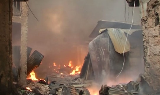 The Kano market fire when it was burning