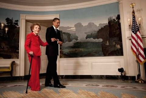 Obama and Nancy Reagan: during a visit to White House