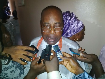 Father of the bride,  Mr. Williams Obanor, addressing journalists