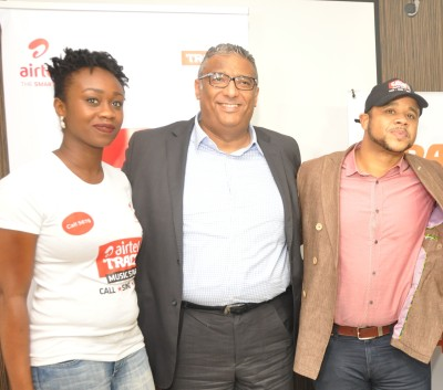 L-R, Head, Youth Segment, Airtel, Omoyeme Effiong; Chief Commercial Officer, Airtel Nigeria, Ahmad Mokhles with Managing Director, Trace Music Star, Nigeria and Anglo-African countries, Sam Onyemelukwe at the Press Launch