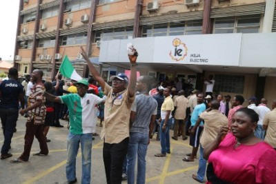 Picketing of Ikeja Disco by the NLC, today in Lagos