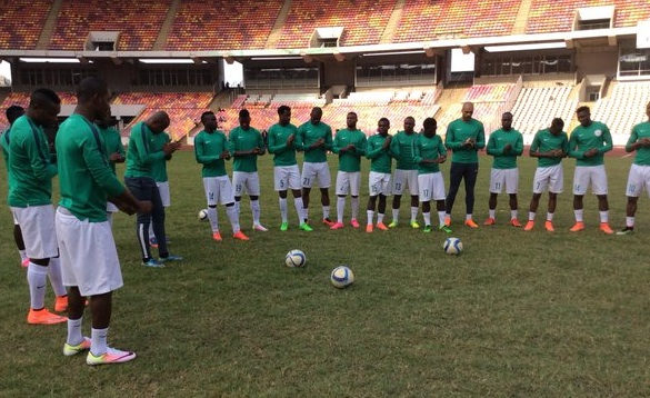 Super Eagles before training today