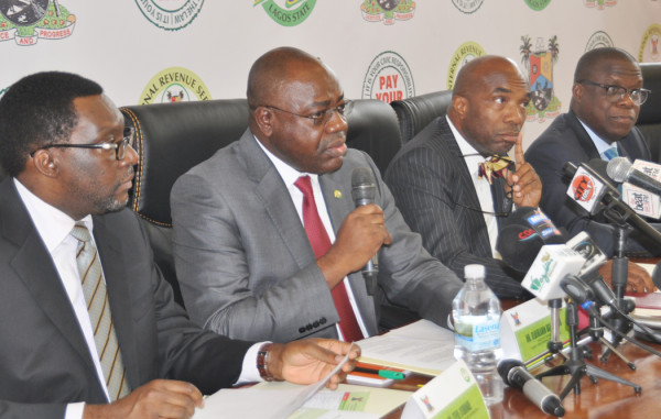 L-R: Lagos State Commissioner for Information and Strategy, Mr. Steve Ayorinde; Executive Chairman, Lagos State Internal Revenue Service (LIRS), Mr. Olufolarin Ogunsanwo; Commissioner for Finance, Mr. Mustapha Akinwunmi and his counterparts in the Justice Ministry, Mr. Kazeem Adeniji,