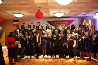 MoneyGram and bank officials  at the event