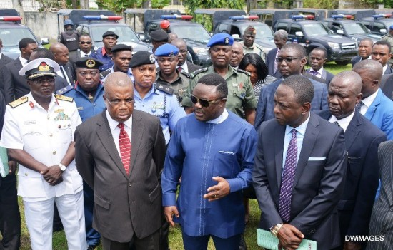 Governor Ben Ayade, 2nd right, with his deputy Ivara Esu, 3rd right