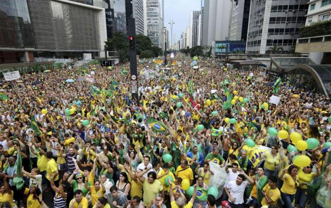 Over a million people demonstrated against Dilma Rousseff on 15 March. Now her supporters are trooping out today