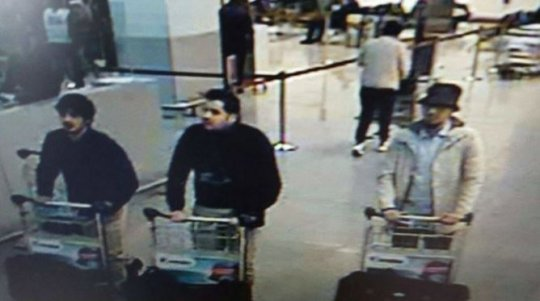 Khalid and Brahim el-Bakraoui, first and second left and the wanted suspect who got away