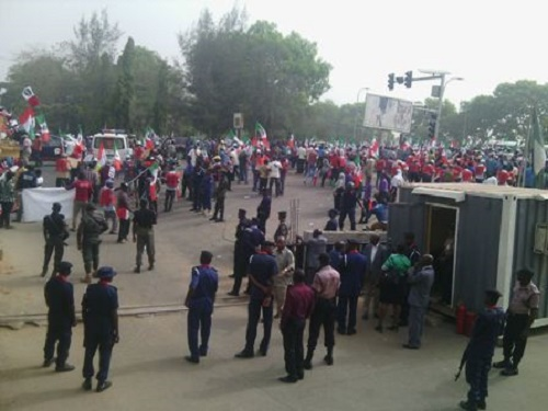 Workers picketing on Monday
