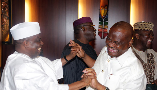 Tambuwal sets Wike giggling. The others are focussed on another spectacle in the council chambers