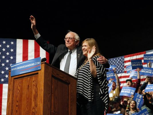 Sanders and his wife on his big night in Wisconsin