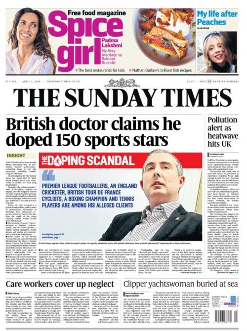 Sunday Times cover page today
