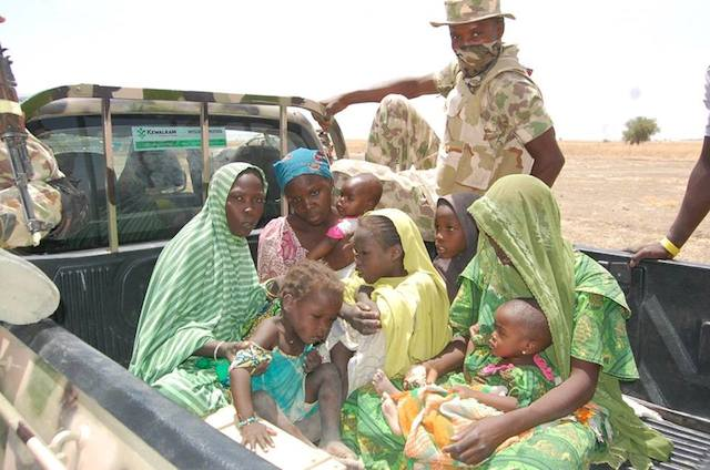 Wives of Boko Haram terrorists and their children: They said their husbands have run towards Lake Chad