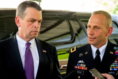 Brig. Gen. Donald Bolduc, right, accompanied by U.S. State Department Principal Deputy Secretary for African Affairs Bruce Wharton, speaks to members of the media outside the U.S. Embassy in Chad in N'Djamena, Chad. Photo: AP