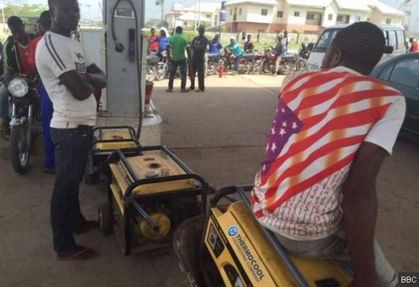 Generator owners bring them to stations to fill: but no fuel