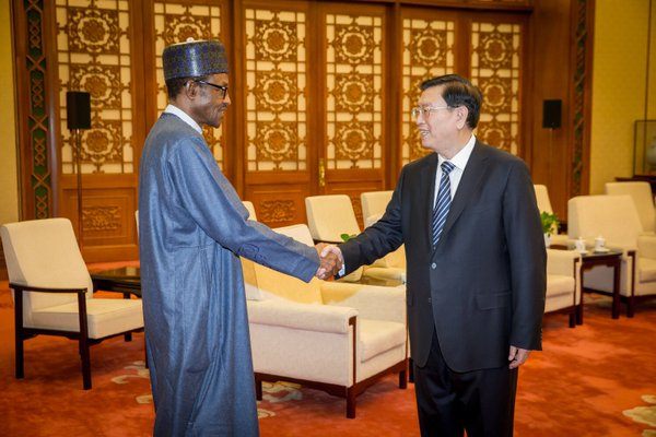 Buhari meets met with Zhang Dejiang, Chairman Standing Committee of the National People's Congress of China