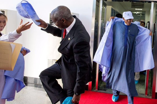 PMB and Fashola coming out of Aerospace station