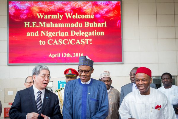 President Buhari today  also visited the China Aerospace Science Technology Corporation Centre in Beijing. With PMB is Minister of Science and Technology, Dr Ogbonnaya Onu