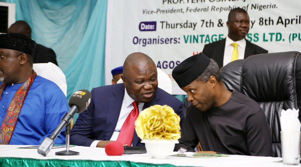 Osinbajo, right and Ambode at The Nation's economic summit