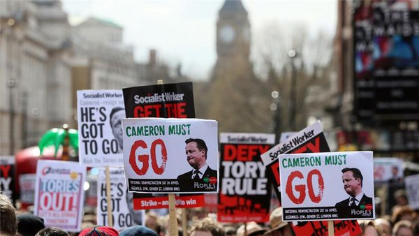 Protesters against Cameron on Saturday