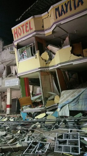 Hotel building destroyed by the earthquake