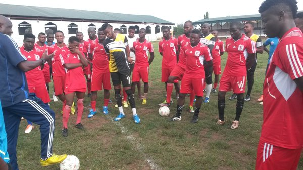 Abia Warriors fans protest a bad goal call for MFM
