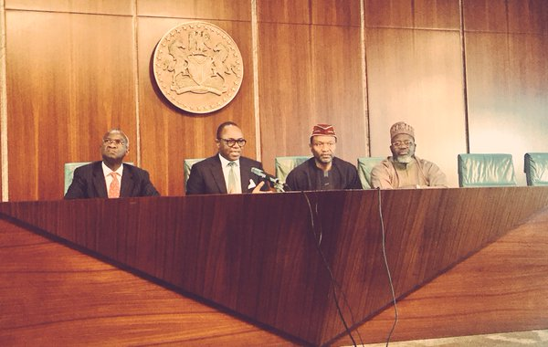 Ibe Kachikwu, second left,  with other ministers at the briefing