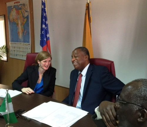 Samantha Power and Geoffrey Onyeama, foreign minister
