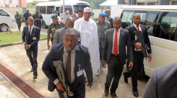 Saraki's security men and their boss. They were ordered out of the court