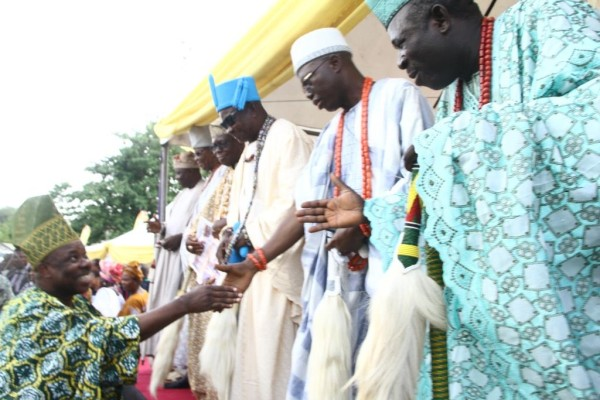 Governor Ibikunle Amosu of Ogun state being greeted by traditional rulers at the event. Photo Credit Idowu Ogunleye.